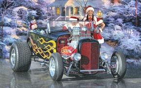 Картинка зима, праздник, Новый Год, снегурочка, санта клаус, hot-rod, classic car