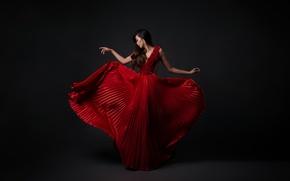 Картинка девушка, стиль, красное, платье, брюнетка