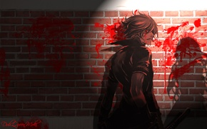 Картинка ночь, кровь, тень, катана, слезы, кирпичная стена, shiki, вполоборота, togainu no chi, кровь окаянного пса