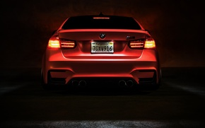 Картинка BMW, Light, Orange, Car, Tuning, Vossen, Low, Wheels, Rear, F80, Perfomance