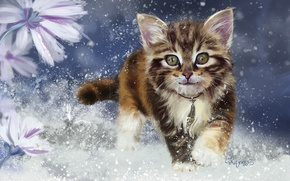 Обои lorri kajenna, котёнок, арт, снег, зима, детская