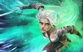 Картинка взгляд, оружие, арт, нападение, Ciri, Witcher 3: Wild Hunt, Cirilla