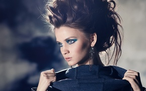 Картинка девушка, лицо, модель, серьги, макияж, брюнетка, прическа, Kris Strange, Кристина Макарова, Kristina Makarova
