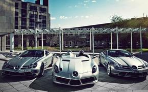 Картинка три, мерседес, спорткары, mercedes slr McLaren