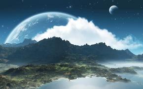 Обои заход, луна, небо, облака