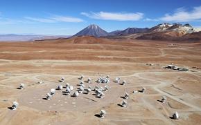 Картинка антенны, Чили, обсерватория, локаторы, ALMA, радиотелескопы, Chilean Andes, antennas, Chajnantor Plateau