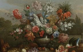 Картинка цветы, ландшафт, ваза, натюрморт, Jacob Bogdani