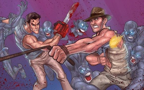 Обои Bruce Campbell, Indiana Jones, Ash Williams, evil dead, James Williams, зомби, crossover, ash, Harrison Ford