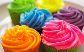 Картинка colorful, пирожное, крем, десерт, выпечка, сладкое, cupcake, кекс, cream