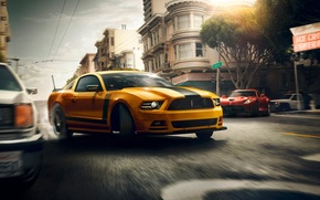 Картинка Mustang, Ford, Muscle, Dodge, Red, Car, Viper, Speed, Front, Sun, Street, San Francisco, Yellow, 302, …