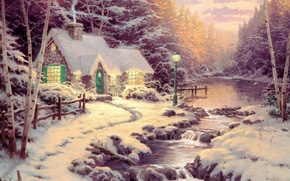 Обои snow, river, зима, art, ели, берёзы, река, лес, Thomas Kinkade, картина, forest, painting, живопись, коттедж, ...