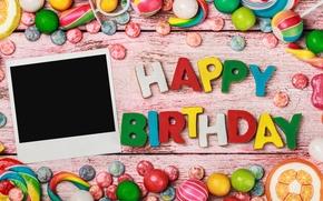 Картинка день рождения, colorful, конфеты, сладости, sweet, birthday, candy, Happy