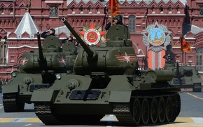 Картинка танк, красная площадь, советский, средний, Т-34-85