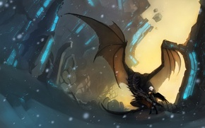 Картинка девушка, снег, камни, магия, дракон, рисунок, крылья, арт, руины