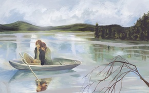 Обои yano motoharu, bokura ga ita, ветка, лодка, takahashi nanami, парень, озеро, рисунок, девушка