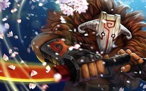 Картинка меч, лепестки, маска, sakura, Dota 2, Juggernaut, yurnero