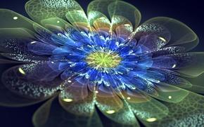 Картинка цветок, неон, лепестки, арт