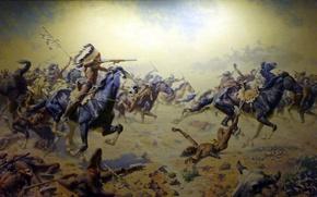 Картинка картина, живопись, painting, Frederic Remington, Custer's Last Stand at Woolaroc