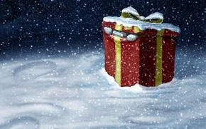 Картинка подарок, новый год, Зима, Снег