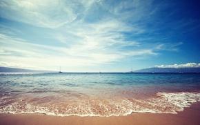 Обои песок, море, небо, вода, облака, пейзаж, природа, берег, яхты, sky, sea, landscape, nature, water, clouds, ...