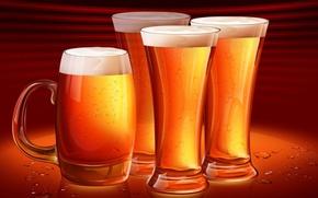 Картинка пена, пиво, Бокалы, кружка