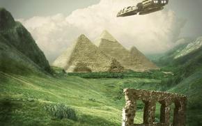 Обои трава, корабль, пирамиды