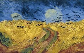 Картинка дорога, поле, вороны, 1890, Vincent Willem van Gogh, Wheat Field with Crows