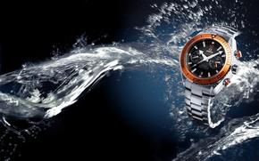 Картинка вода, часы, Omega, Seamaster