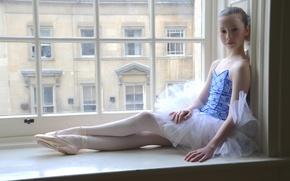 Картинка окно, девочка, балерина