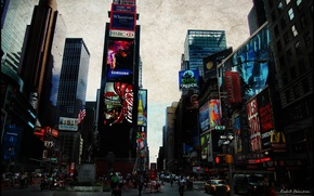 Картинка город, нью-йорк, сша, times square
