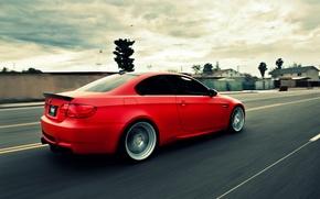 Картинка дорога, бмв, скорость, BMW, red, e92, 3 серия