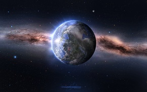 Обои Millions of Years, Звезды, Космос, Земля, Планета