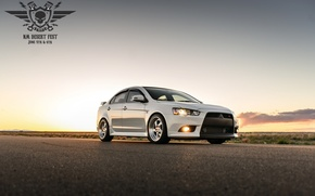 Картинка Mitsubishi, Lancer, white, desert, fest