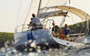 Картинка море, путь, люди, ветер, яхта, парус