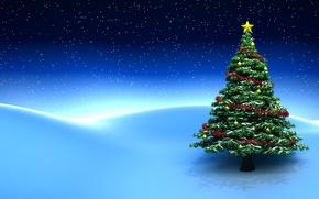 Картинка звезды, снег, украшения, елка, Новый год, new year, snow, stars, merry christmas, christmas decoration, christmas …