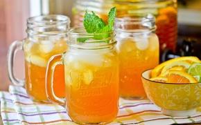 Картинка напиток, цитрусы, мята, лимонад