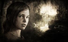 Картинка грусть, темнота, серый, мрак, игра, герои, PS3, The Last of Us, ellie