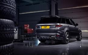 Картинка гараж, покрышки, шины, Range Rover, вид сзади, Sport, Overfinch