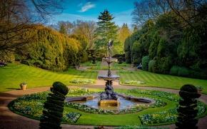 Обои осень, деревья, цветы, дизайн, парк, газон, Англия, фонтан, скамейки, кусты, Buckinghamshire, Wing, Ascott House