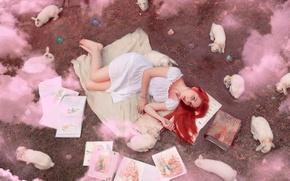Картинка девушка, дым, книги, кролики