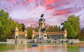 Обои вода, деревья, парк, лодка, памятник, Испания, Мадрид, Ретиро, Буэн-Ретиро