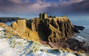 Картинка небо, снег, тучи, скала, камни, берег, Северное море, Шотландии, замок Данноттар, Dunnottar