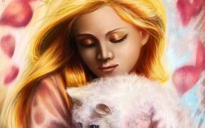 Картинка кошка, девушка, лицо, животное, волосы, макияж, тени, белая, живопись, золотистые, на руках
