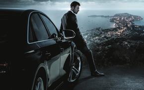 Картинка city, Audi, BMW, cinema, soldier, sea, France, man, movie, pier, film, suit, OPS, English, driver, …