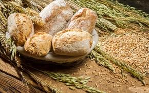 Картинка хлеб, пшеница, булочки, выпечка, колосья, пшено