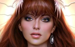 Обои карие глаза, арт, девушка, взгляд, серьга