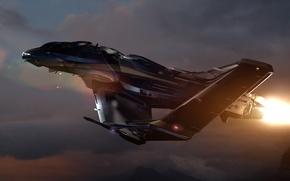 Картинка небо, космос, облака, закат, корабль, истребитель, space, fighter, spaceship, game wallpapers, Star Citizen, Звёздный гражданин, …