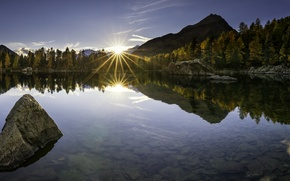 Картинка Lago di Saoseo, Poschiavo, Поскьяво, Шаейцария, отражение, горы, Валь-ди-Кампо, Switzerland, дно, озеро, закат, осень, камни, ...