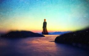 Картинка небо, закат, холмы, женщина, левитация, над озером