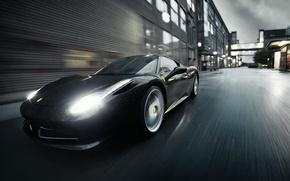 Картинка Ferrari, Black, Rain, Italia, F458